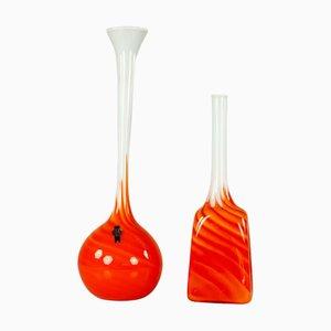 Italienische Orangenfarbene Glasvasen von Opalina Fiorentina Empoli, 1970er, 2er Set