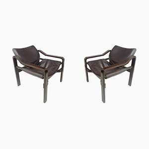 Plywood & Dark Brown Leather Upholstery Armchairs, 1970s, Set of 2