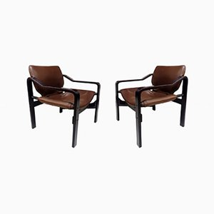 Plywood & Light Brown Leather Upholstery Armchairs, 1970s, Set of 2