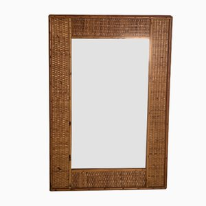 Mid-Century Mirror with Wicker and Bamboo Weaving, 1950s