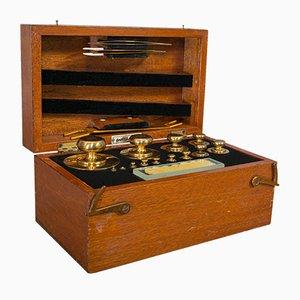Juego de teodolito inglés vintage de bronce y latón, años 50