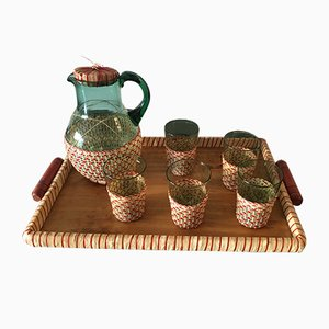 Mid-Century Green Table Glass Set with Beige & Red Raffia Weave Handles and Base, Set of 7