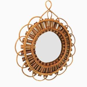 Runder Mid-Century Spiegel mit gewebtem Bambus, 1950er