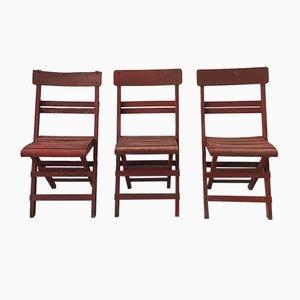 Chaises Rimini Mid-Century avec Cadre et Lattes en Bois Peint en Rouge, Set de 3