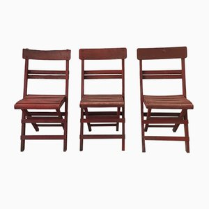 Mid-Century Rimini Chairs with Red Painted Wooden Frame and Slats, Set of 3