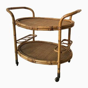 Mid-Century Food and Bottle Trolley in Bamboo and Rattan with Wheels, 1950s