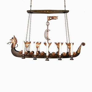 Scandinavian Handmade Viking Ship Oak Copper Candleholder by Arne Persson, Danish, 1977