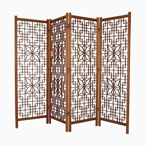 Mid-Century Japanese Art Latticework Teak Kumiko Folding Screen