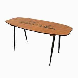 Mid-Century Wooden Coffee Table with Decorated Deer Run Pattern on Top & Black Painted Iron Legs, 1950s