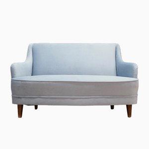 Vintage Blue Velour Sofa, 1970s