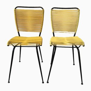 Mid-Century Chairs with Yellow PVC Weave with Black Painted Iron Frame, 1950s, Set of 2