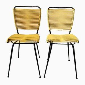 Mid-Century Stühle mit gelber PVC-Flechtung mit schwarz lackiertem Eisengestell, 1950er, 2er Set