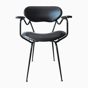 Mid-Century Black Painted Iron Frame & Black Skai Armchair Attributed to Gastone Rinaldi, 1950s