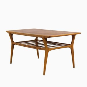 Scandinavian Teak Coffee Table with Rack, 1960s