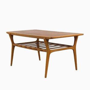 Table Basse Scandinave en Teck avec Étagère, 1960s