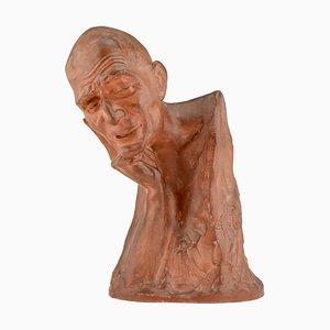 Art Deco Terracotta Sculpture Bust of a Man by Gaston Hauchecorne, 1920s