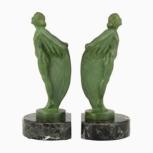 Art Deco Bookends Nudes with Capes by Max Le Verrier, 1930s, Set of 2