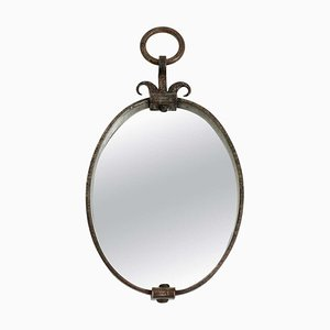 Art Deco Wrought Iron Oval Mirror, 1940s