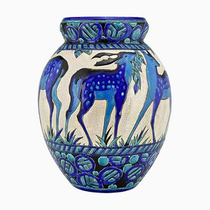 Art Deco Keramikvase mit Reh Biches Bleues von Charles Catteau für Boch Frères, 1920er