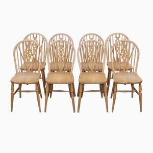 Ash Wheel Back Country Farmhouse Chairs, 1960s, Set of 8