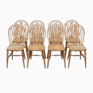 Chaises de Ferme Arrière en Frêne, 1960s, Set de 8