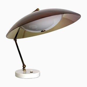 Lámpara de escritorio Mid-Century de latón, plexiglás y mármol de Stilux Milano, años 60