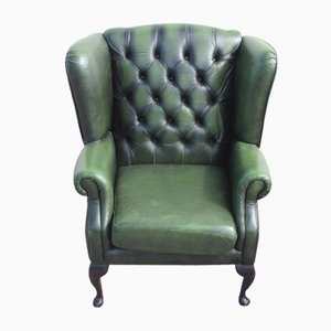 Green Leather Wing Buttoned Back Armchair, 1960s