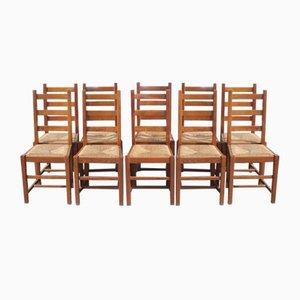 Chaises de Salon Country en Hêtre avec Assises en Jonc, 1920s, Set de 10
