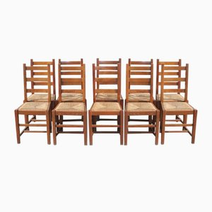 Country Beech Dining Chairs with Rush Seats, 1920s, Set of 10