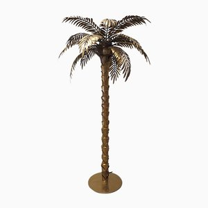 Vintage Brass Palm Floor Lamp