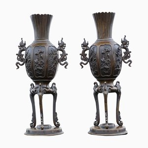 19th Century Chinese Bronze Vases, Set of 2