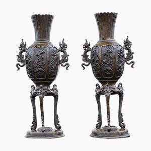 19th Century Chinese Bronze Vases, Set of 2