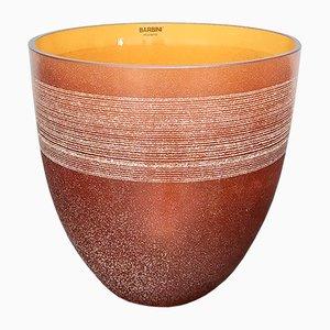 Orange geblasene und geätzte Murano Glasvase von Alfredo Barbini, Italien, 1980er