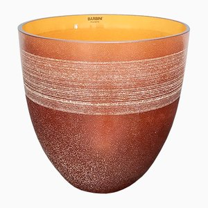 Vase en Verre de Murano Soufflé en Orange par Alfredo Barbini, Italie, 1980s