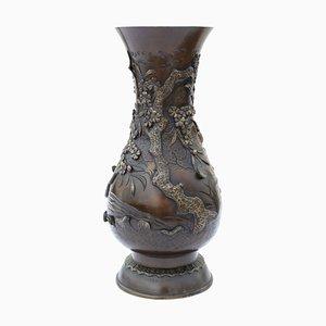 Japanese Meiji Period Mixed Metal Bronze Vase