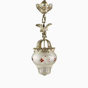 Neoclassical Style Bronze and Frosted Glass Pendant Light with an Eagle, 1920s