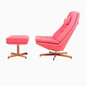 Sedia girevole con poggiapiedi di Madsen & Schübel, anni '60