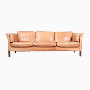 Mid-Century Danish Patinated Leather Sofa from Mogens Hansen, 1980s