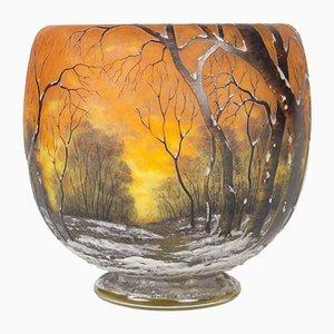 Vase Antique Arbres en Verre par Jean Daum