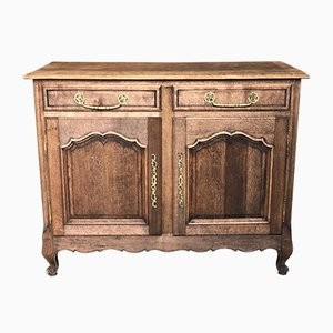Early-19th Century French Bleached Oak Farmhouse 2-Door Buffet, Cupboard or Small Sideboard