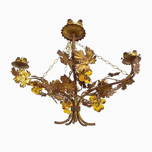 Vintage Chandelier with Grapevine Leaves and Murano Glass from Ferro Art, 1970s