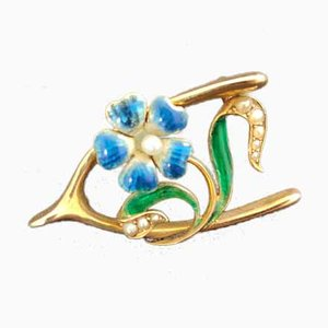 Broche Victorienne Antique en Email 15ct Wishbone