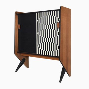 Scandinavian Mid-Century Modern Cabinet with Hand-Painted Pattern, 1970s