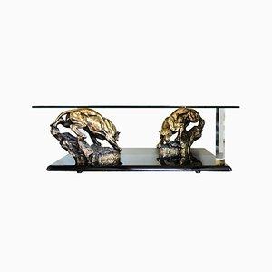 Vintage Hollywood Regency Panther Couchtisch aus Bronze