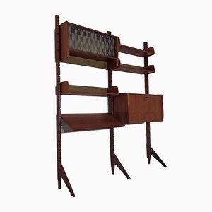 Ergo Teak Wall Shelving Unit by John Texmon Einar Blindheim for Blindheim, Norway, 1950s, Set of 9