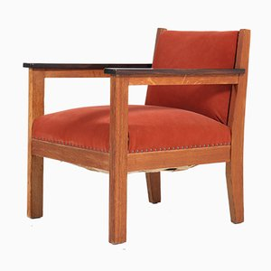 Art Deco Haagse School Oak Lounge Chairs, 1920s, Set of 2