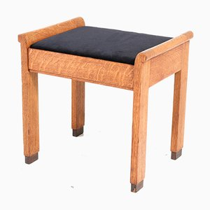 Art Deco Haagse School Oak Stool by J. A. Muntendam for L.O.V. Oosterbeek, 1920s