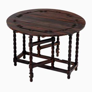 Ebony Macassar Jacobean Style Gateleg or Drop-Leaf Table, 1950s