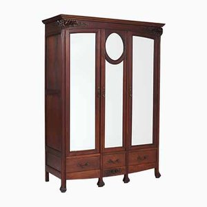 French Art Nouveau Mahogany Armoire or Wardrobe, 1900s
