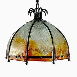 Lampada da soffitto Mid-Century brutalista in ferro battuto e vetro di Murano